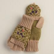Taupe and Olive Fairisle Glittens
