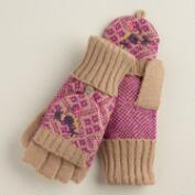 Taupe and Fuscia Fairisle Glittens