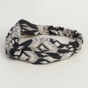 Black and Ivory Tribal Wrap Headband