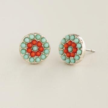 Mint Green and Red Flower Stud Earrings