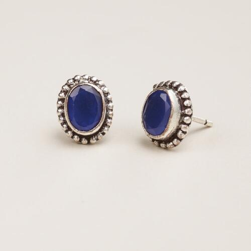 Silver Blue Oval Tribal Stud Earrings