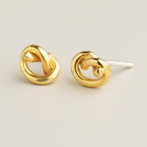 Gold Knot Stud Earrings