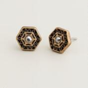 Gold Deco Stud Earrings