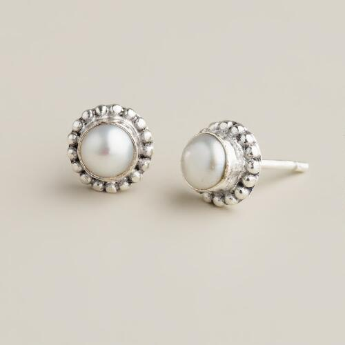 Small Silver and Pearl Stud Earrings