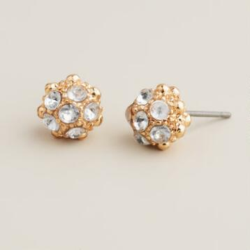 Gold Fireball Stud Earrings