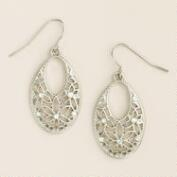 Oval Silver Filigree Drop Earrings