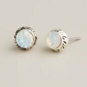 Small White Opal Stud Earrings
