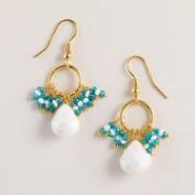 White Stone and Blue Fringe Dangle Earrings