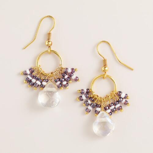 Clear Stone and Purple Fringe Dangle Earrings