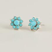 Silver and Blue Flower Stud Earrings