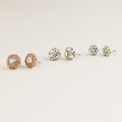 Glam Trio Stud Earrings, Set of 3