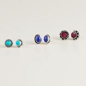 Ruby, Lapis and Turquoise Stud Earrings, Set of 3
