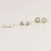 Silver Mint, Ball and Flower Stud Earrings, Set of 3