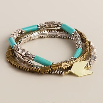 Gold, Turquoise and Silver Arrows Bracelets, Set of 3
