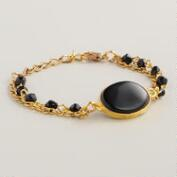 Black Agate and Gold Chain Bracelet