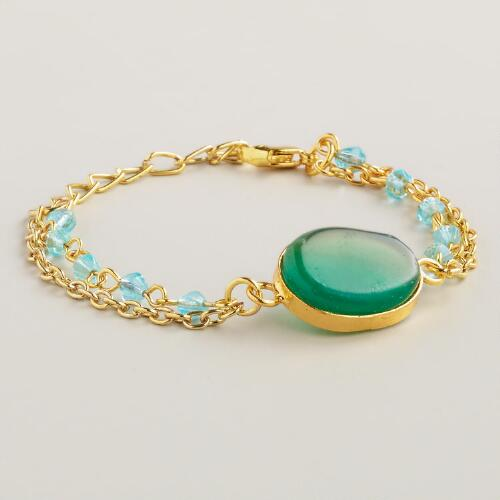 Blue Agate and Gold Chain Bracelet