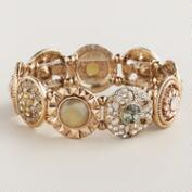 Gold Vintage Style Jewel Stretch Bracelet