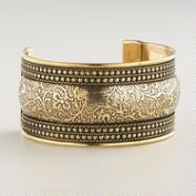 Gold Wide Textured Cuff Bracelet
