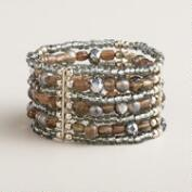 Silver Faceted Bead Layered Bracelet