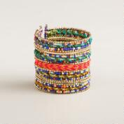Gold Multicolored Bead Tribal Cuff Bracelet