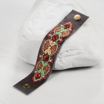 Embellished Leather Snap Bracelet