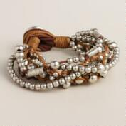 Brown and Silver Beads Layer Bracelet