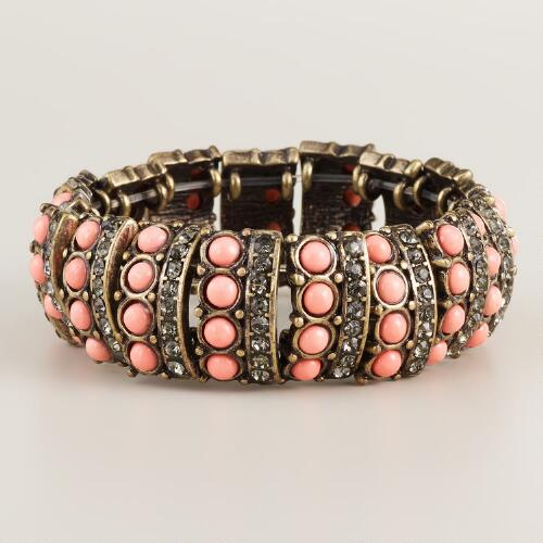 Pink Baubles and Rhinestone Stretch Bracelet