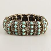 Mint Green Baubles and Rhinestone Stretch Bracelet