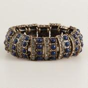 Blue Baubles and Rhinestone Stretch Bracelet