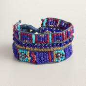 Blue and Multicolor Bead Tribal Bracelet