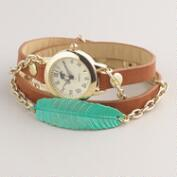 Brown Green Leaf Wrap Watch