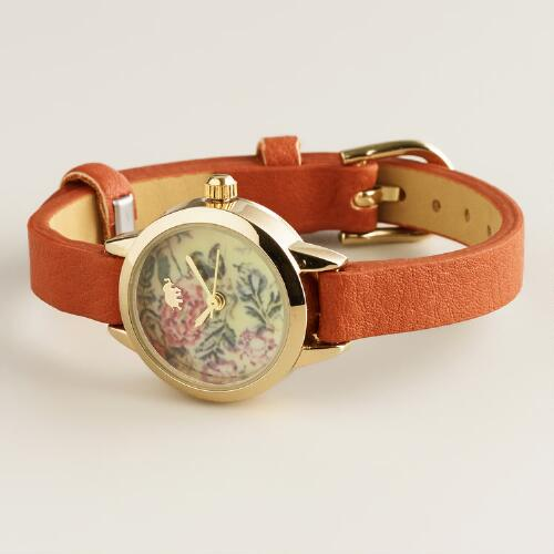 Brown Floral Face Watch