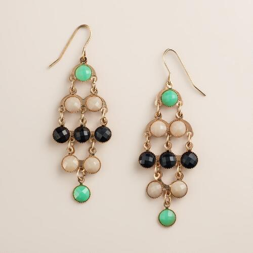 Blue and Green Tonal Chandelier Earrings
