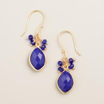 Cobalt Blue Stone Dangle Earrings