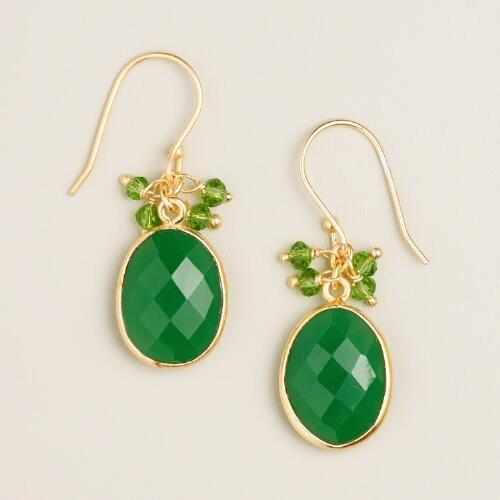 Green Stone Dangle Earrings