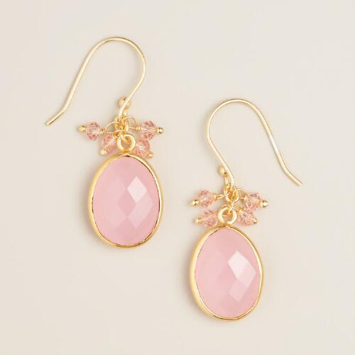 Blush Pink Stone Dangle Earrings