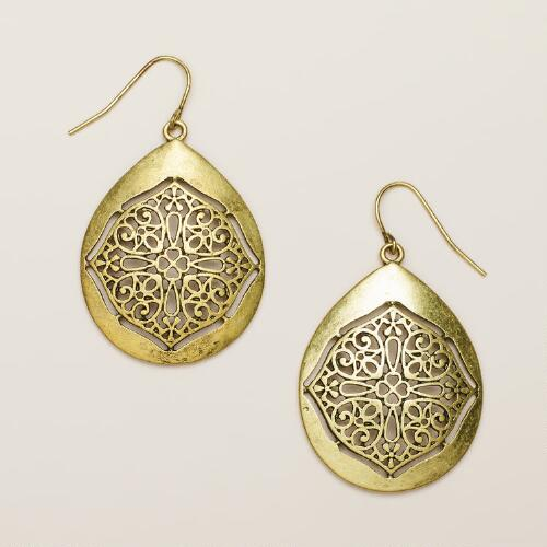 Gold Mosaic Drop Earrings