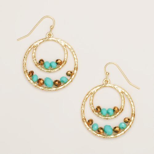 Topaz and Turquoise Gold Drop Hoop Earrings