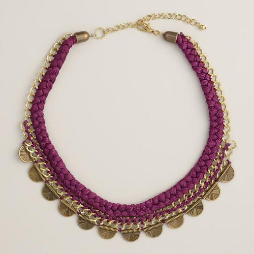 Plum Silk Thread Chain Statement Necklace