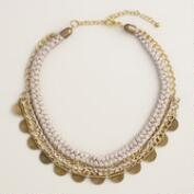 Gray Silk Thread Chain Statement Necklace