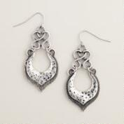 Silver Tribal Twist Drop Earrings
