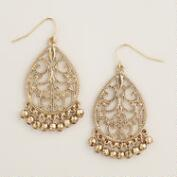 Gold Filigree Ball Drop Earrings