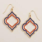 Red and Blue Lantern Drop Earrings