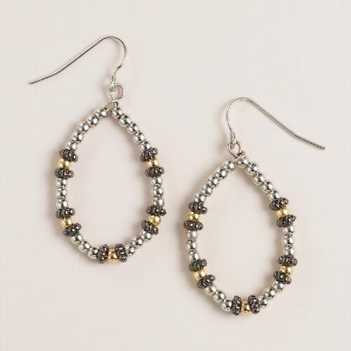 Mixed Bead Teardrop Earrings