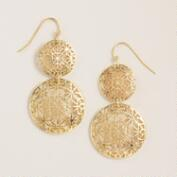 Gold Geo Cutout Double Drop Earrings