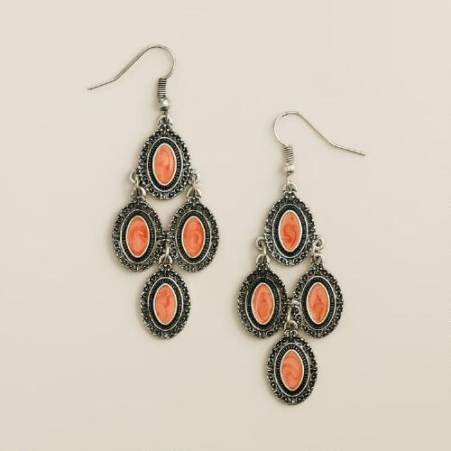 Silver and Coral Chandelier Earrings