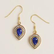 Sapphire and Cubic Zirconia Teardrop Earrings
