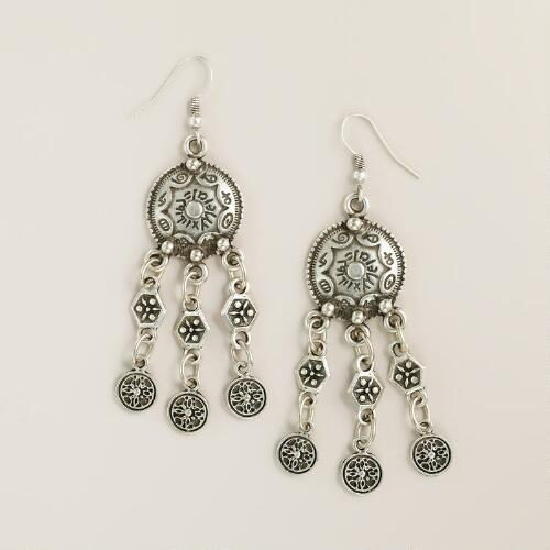 Silver Disc Dangle Drop Earrings