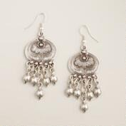 Silver Floral Motif Dangle Earrings