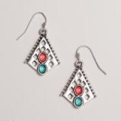 Small Turquoise and Coral Tribal Silver Earrings